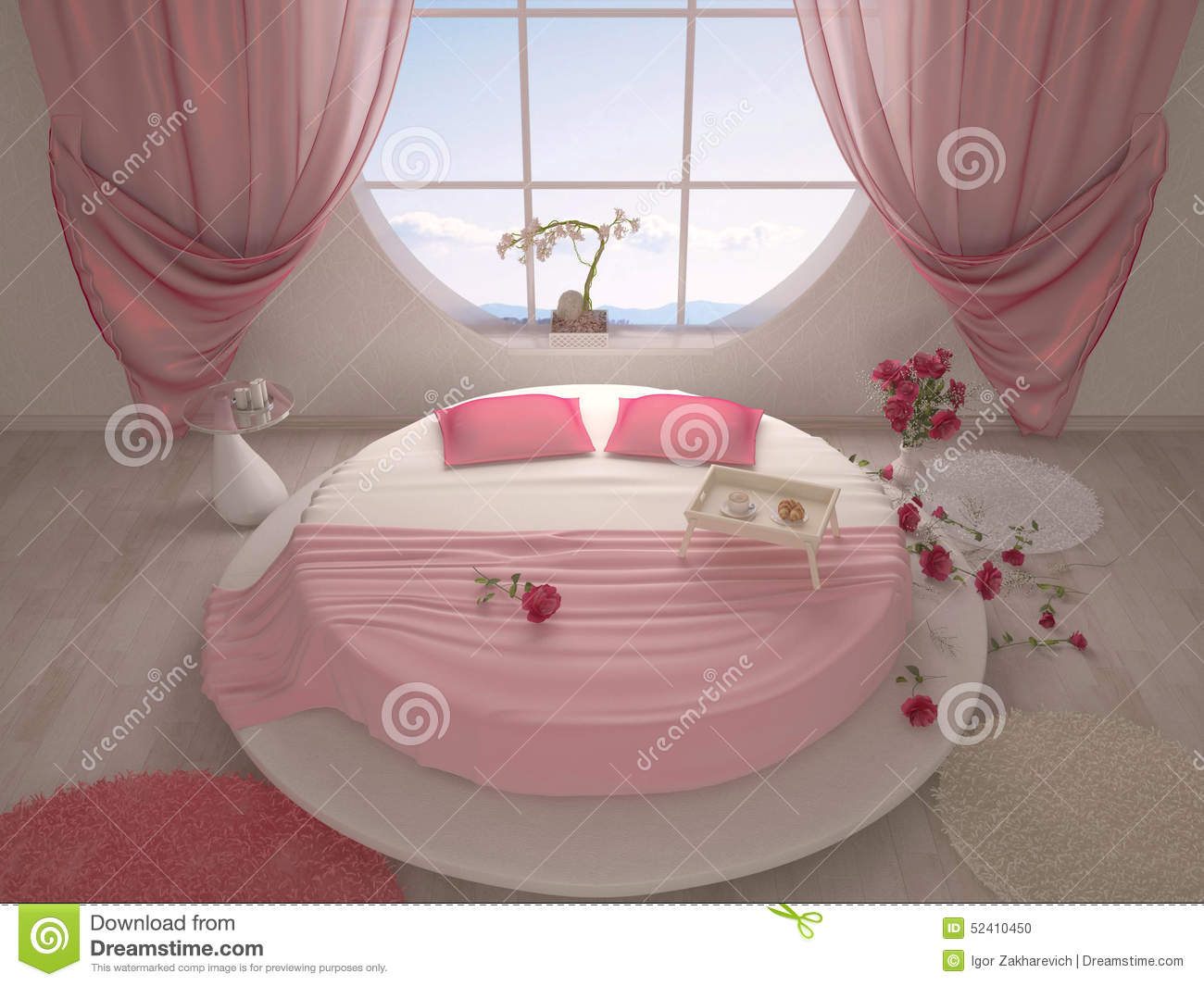 round bed with a suspended ceiling in bedroom royalty free stock photo 16970619. Black Bedroom Furniture Sets. Home Design Ideas