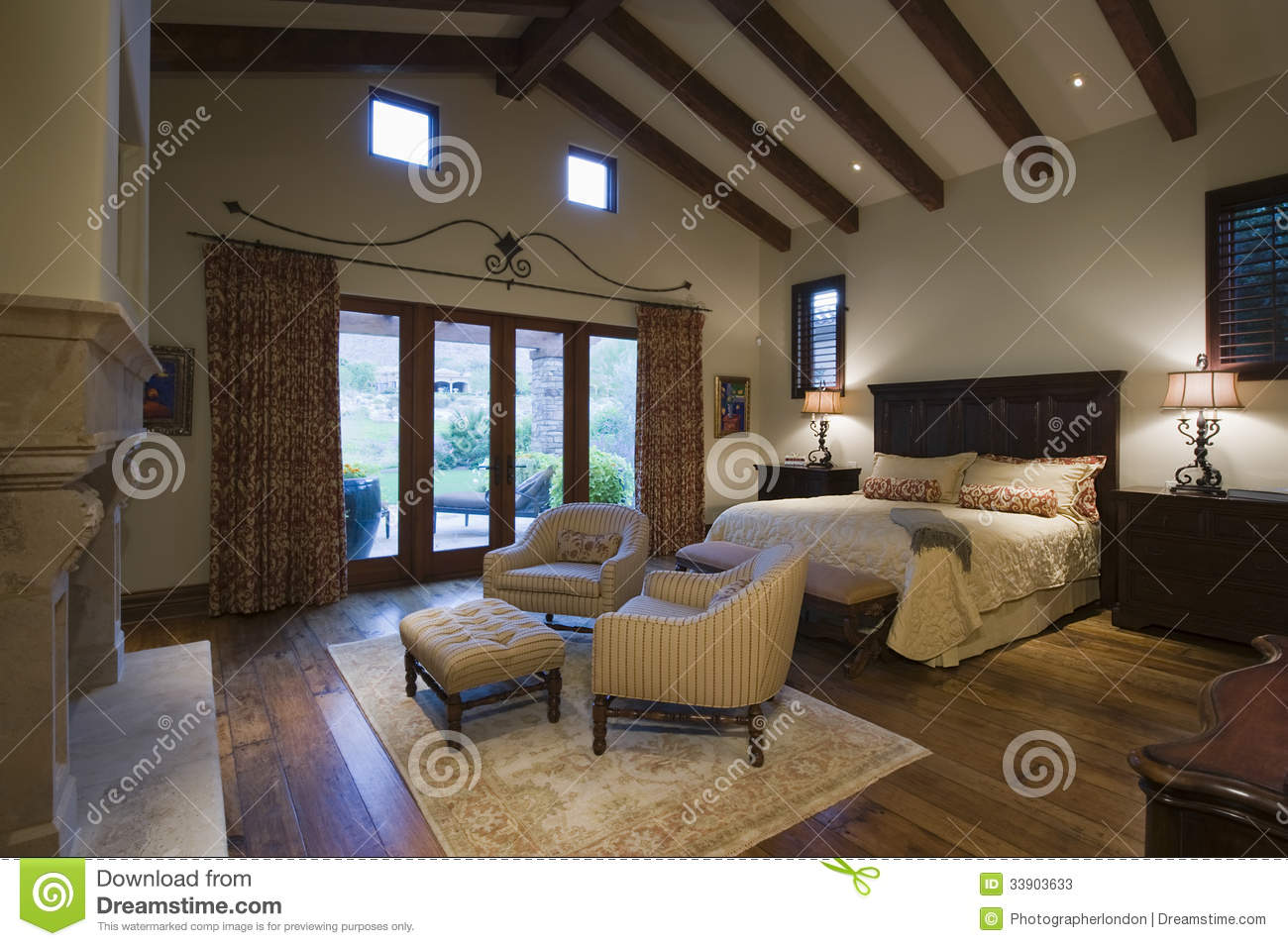 Download Bedroom With Seating Area At Home Stock Image   Image Of Hacienda,  Armchair: