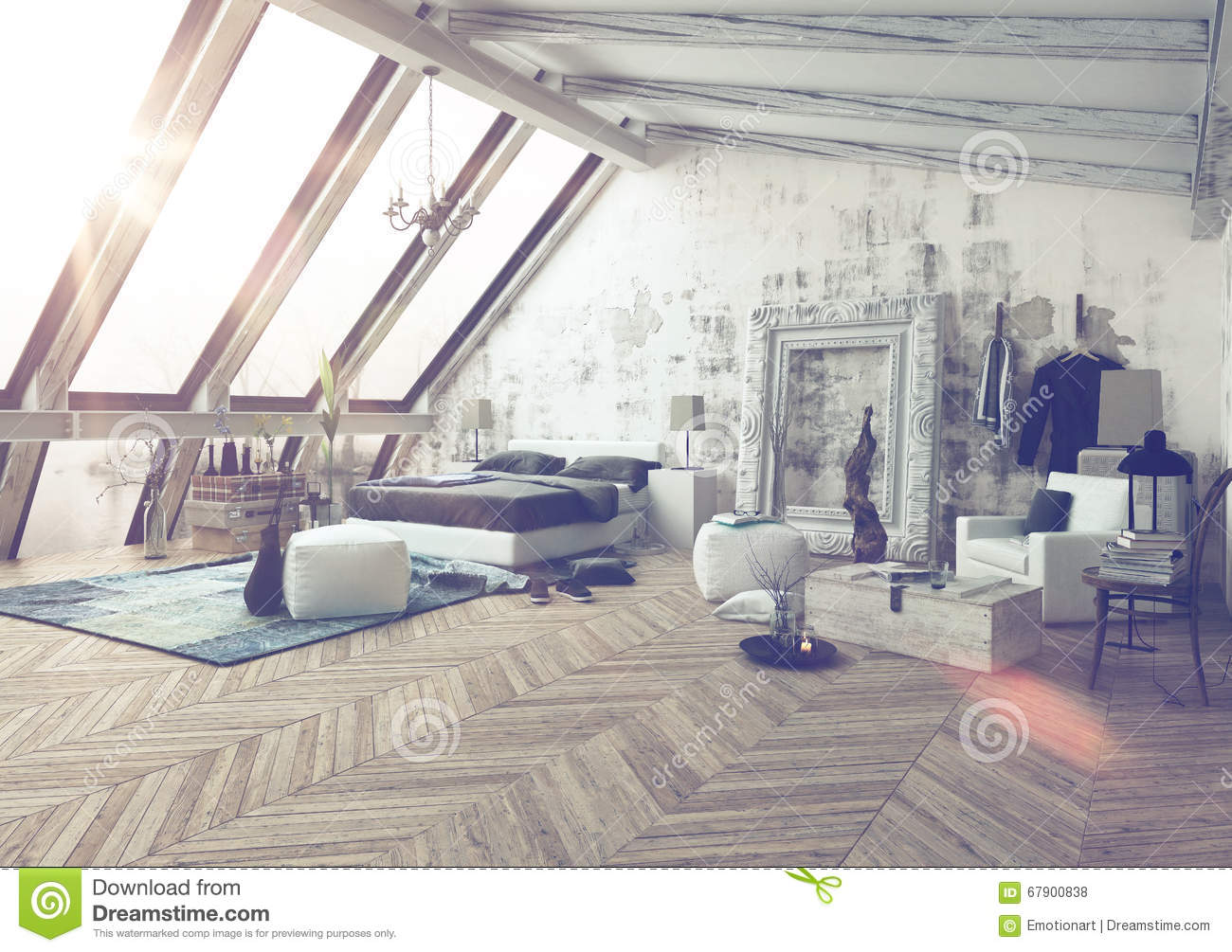 Bedroom With Slanted Ceiling And Frame On Wall Stock ...