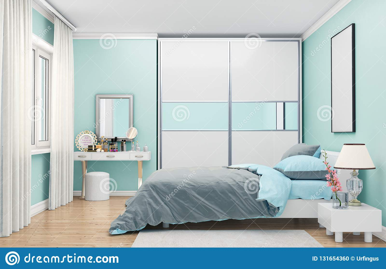 Bedroom In Soft Blue Colors, Wardrobe With Mirrored Doors ...