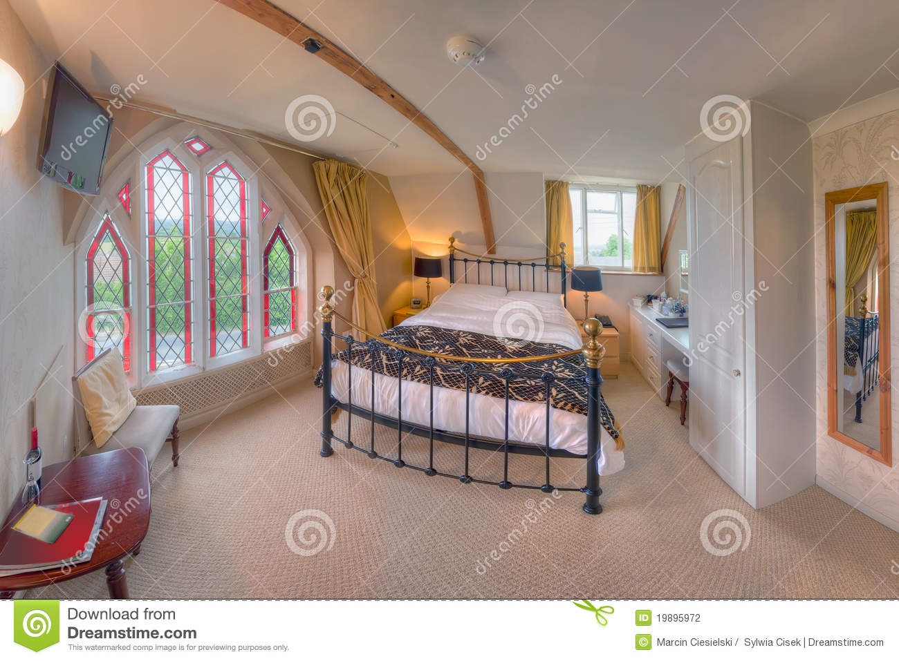 Bedroom With Stained Glass Window The Belfry Stock Photo