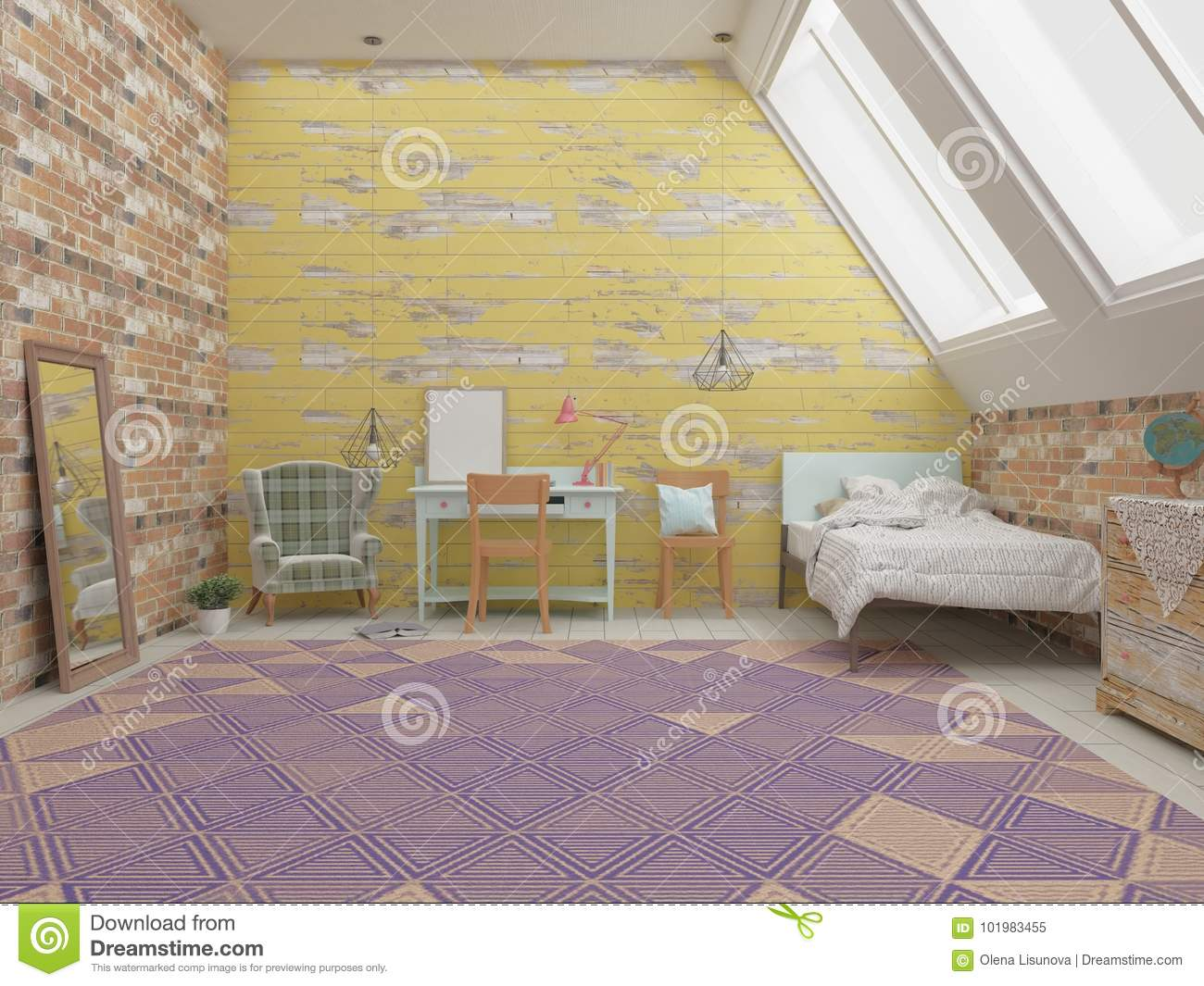Kids room interior stock illustration. Illustration of furniture ...