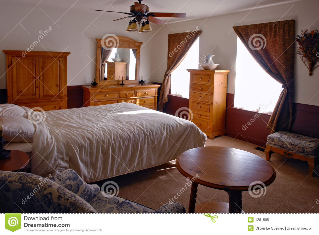 Bedroom In A Traditional American Home Stock Image Image Of