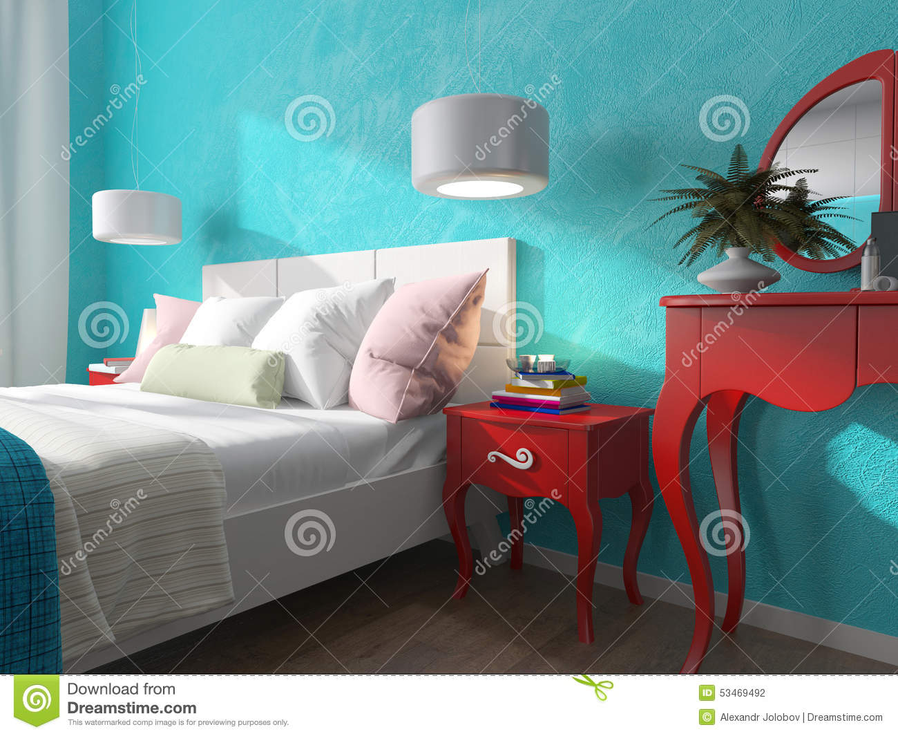 Bedroom With Turquoise Walls And Bedside Tables Stock Illustration ...