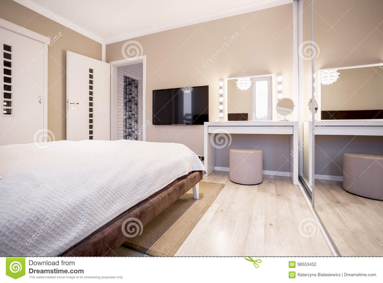 Marvelous Bedroom With Tv And Dressing Table Stock Photo Image Of Download Free Architecture Designs Scobabritishbridgeorg