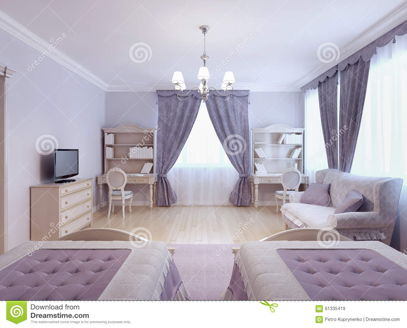 Bedroom for two children stock illustration illustration - Camera da letto ragazza ...