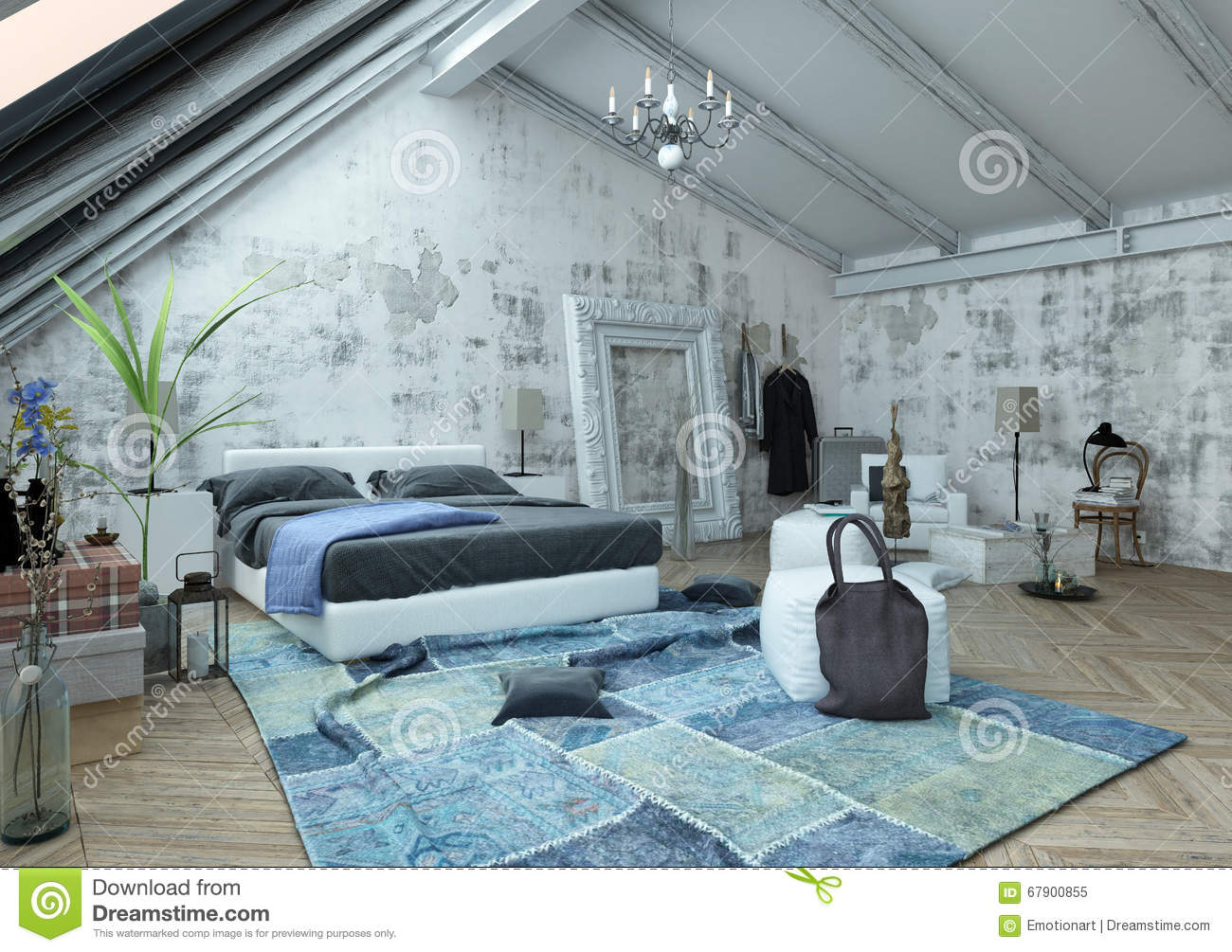 Bedroom With Vaulted Ceiling And Crumpled Carpet