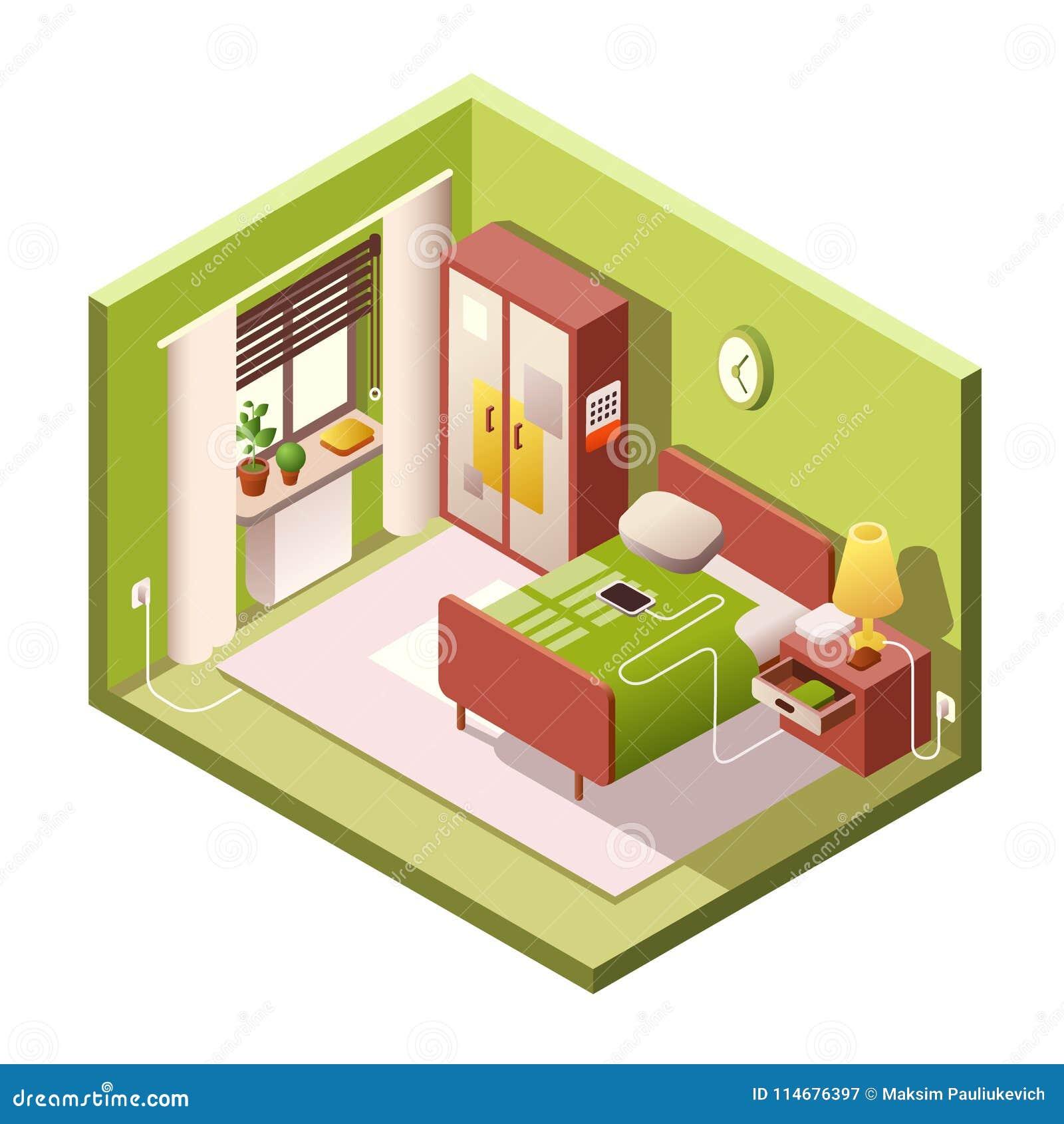 Bedroom vector cartoon illustration of isometric modern for Disegno 3d free