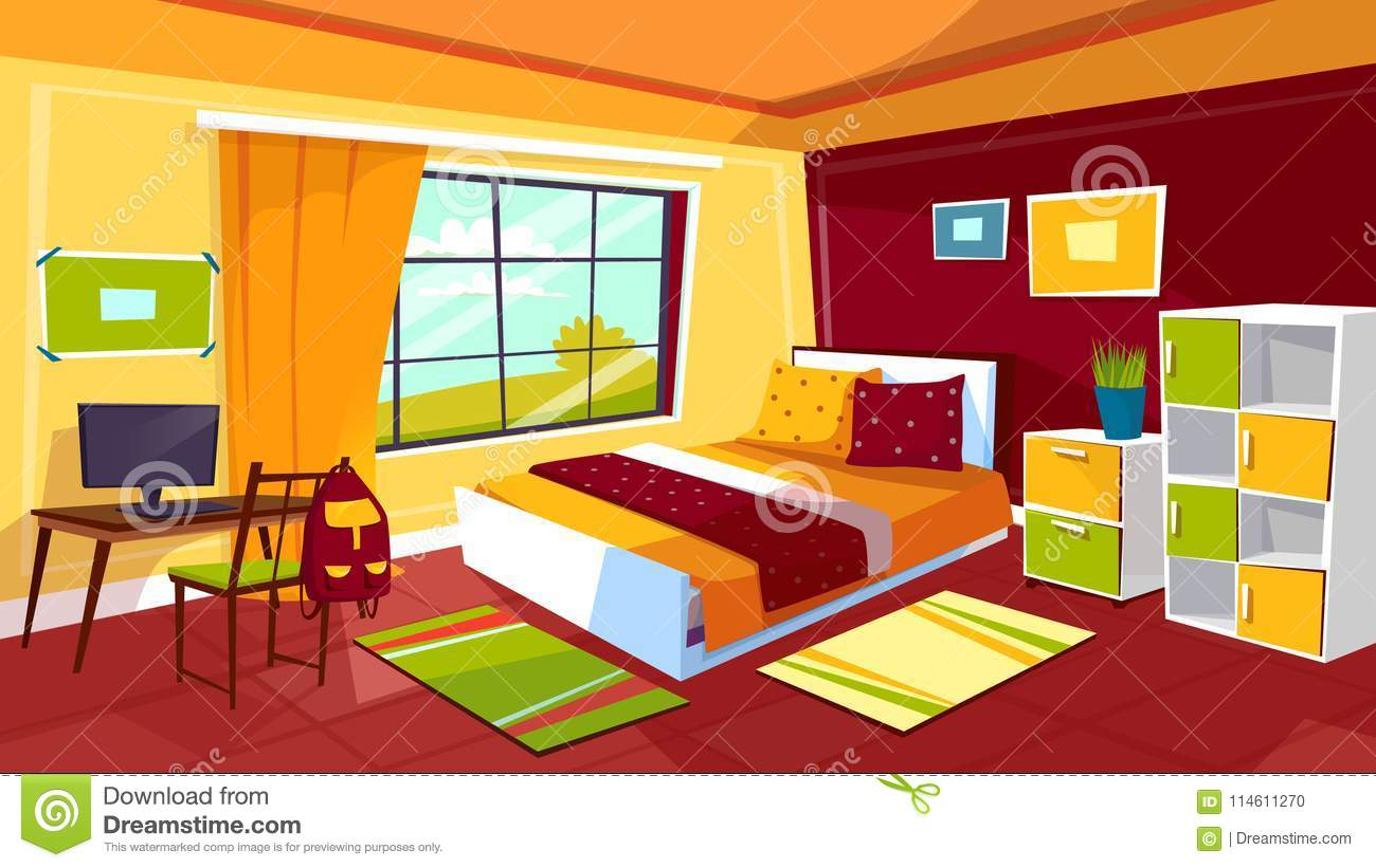 Teenager Bedroom Vector Cartoon Illustration Of Teen Girl Or Boy