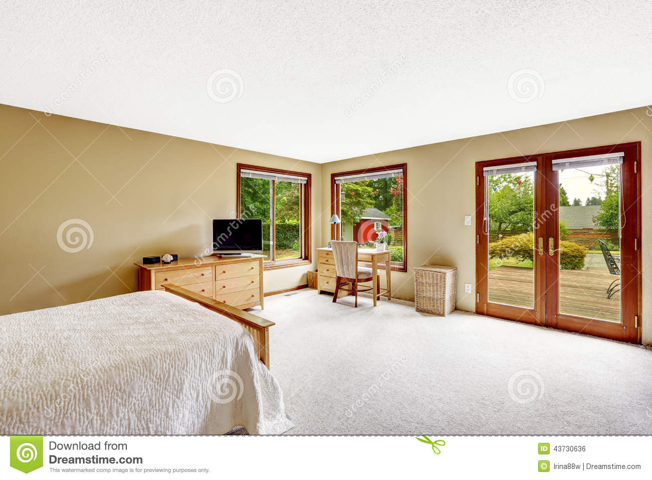 bedroom with walkout basement deck stock photo image 43730636