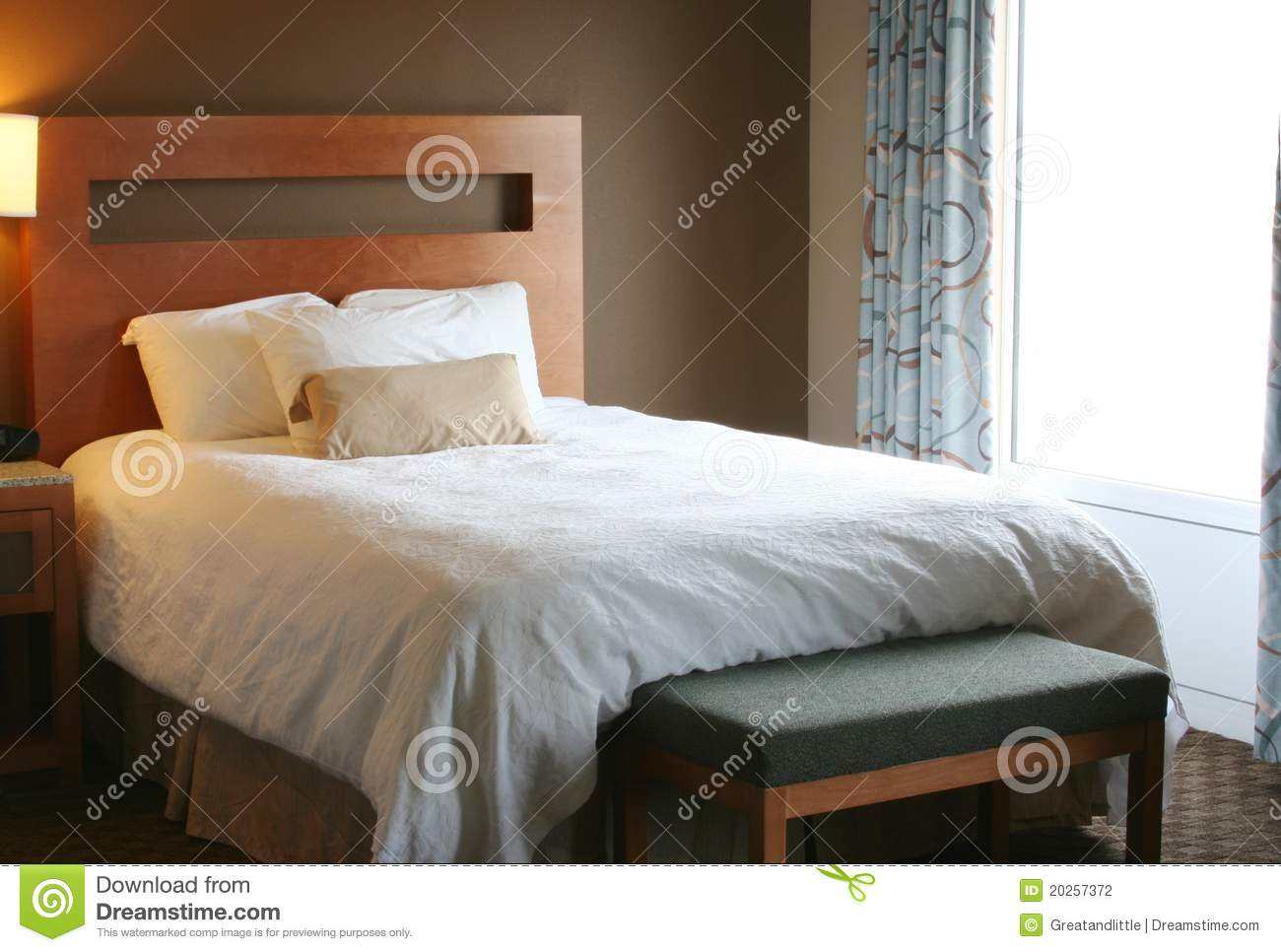Bedroom With White Blanket On Bed Stock Photo Image