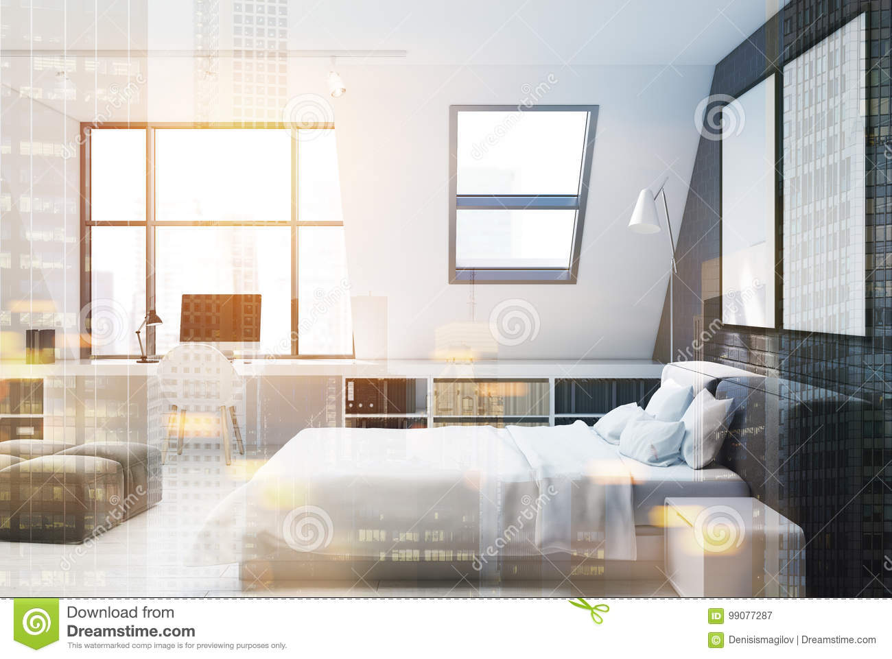 Brick Wall Bedroom And Home Office Side Toned Stock Illustration