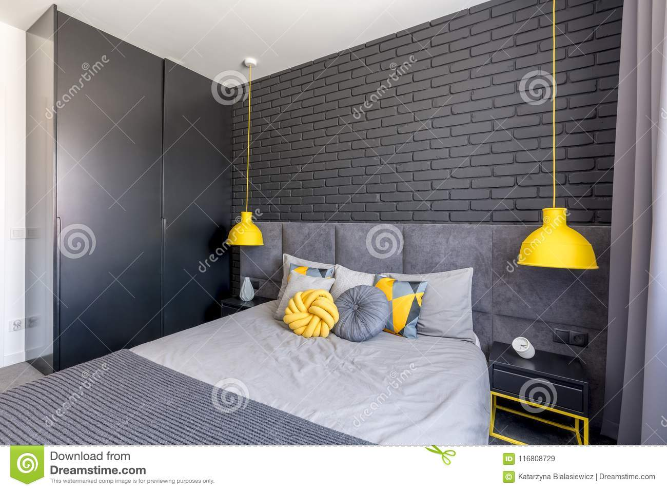 Strange Bedroom With Yellow Accents Stock Image Image Of Wardrobe Home Interior And Landscaping Ferensignezvosmurscom