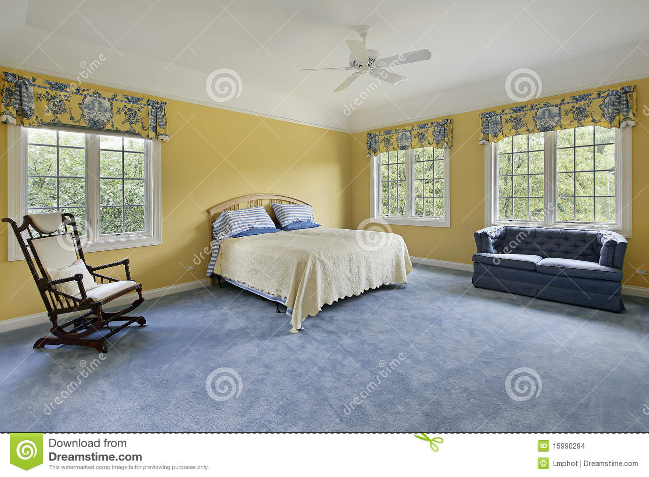 bedroom with yellow walls stock images image 15990294