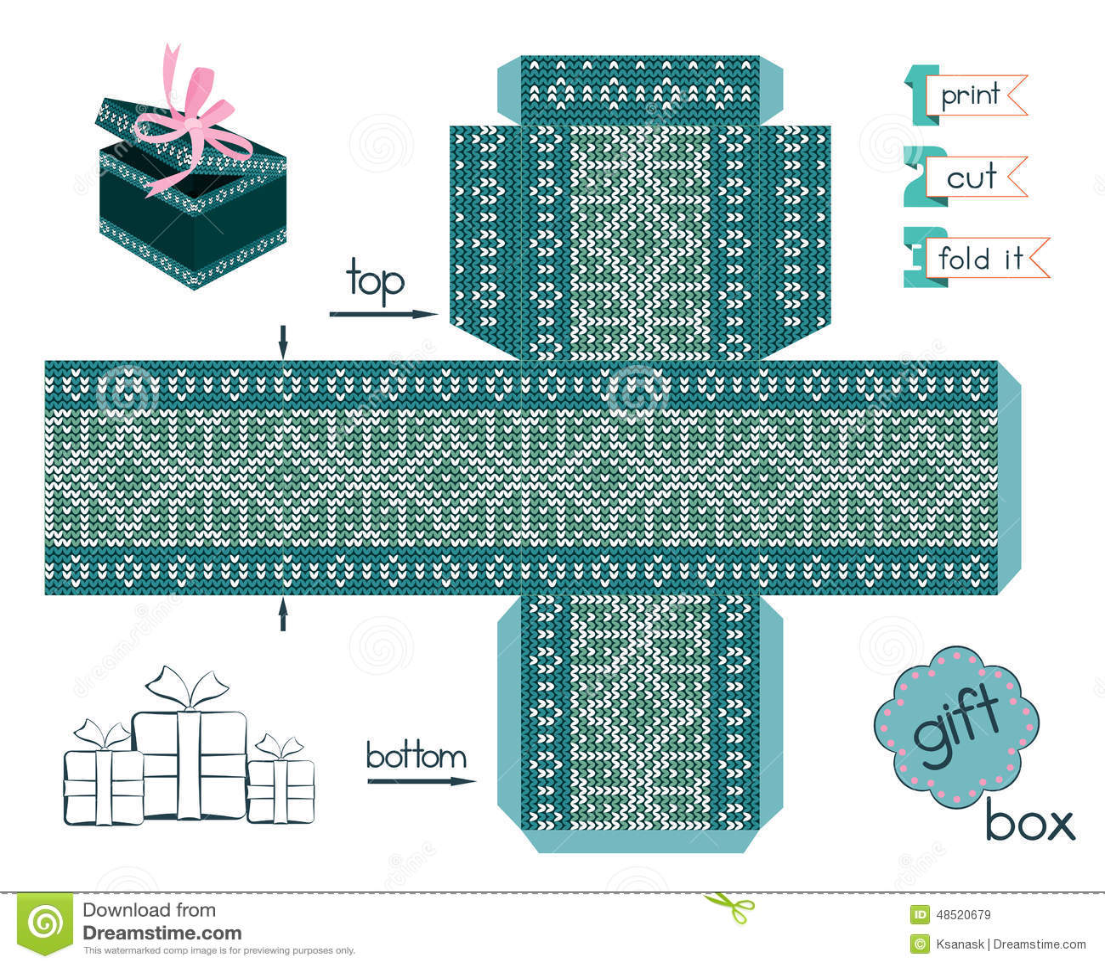 Bedruckbare Geschenkbox Mit Skandinavische Art Gestricktem Muster ...