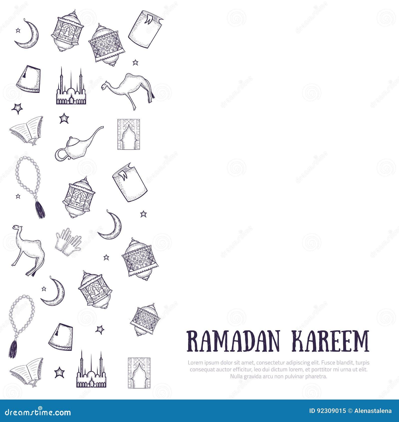 Bedruckbare Minimalistic Ramadan Kareem-Grußkarten ...
