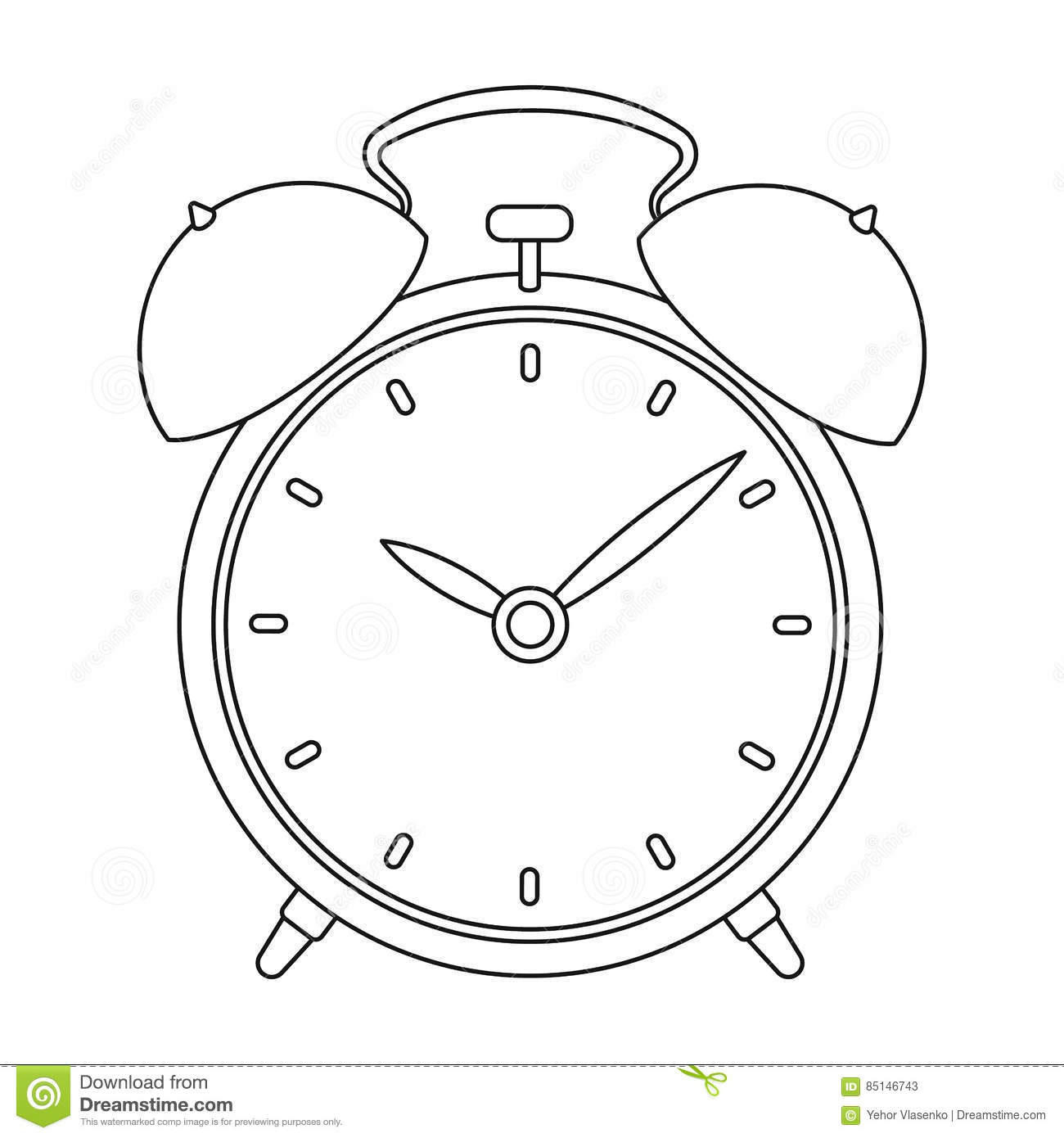 bedside clock icon in outline style isolated on white