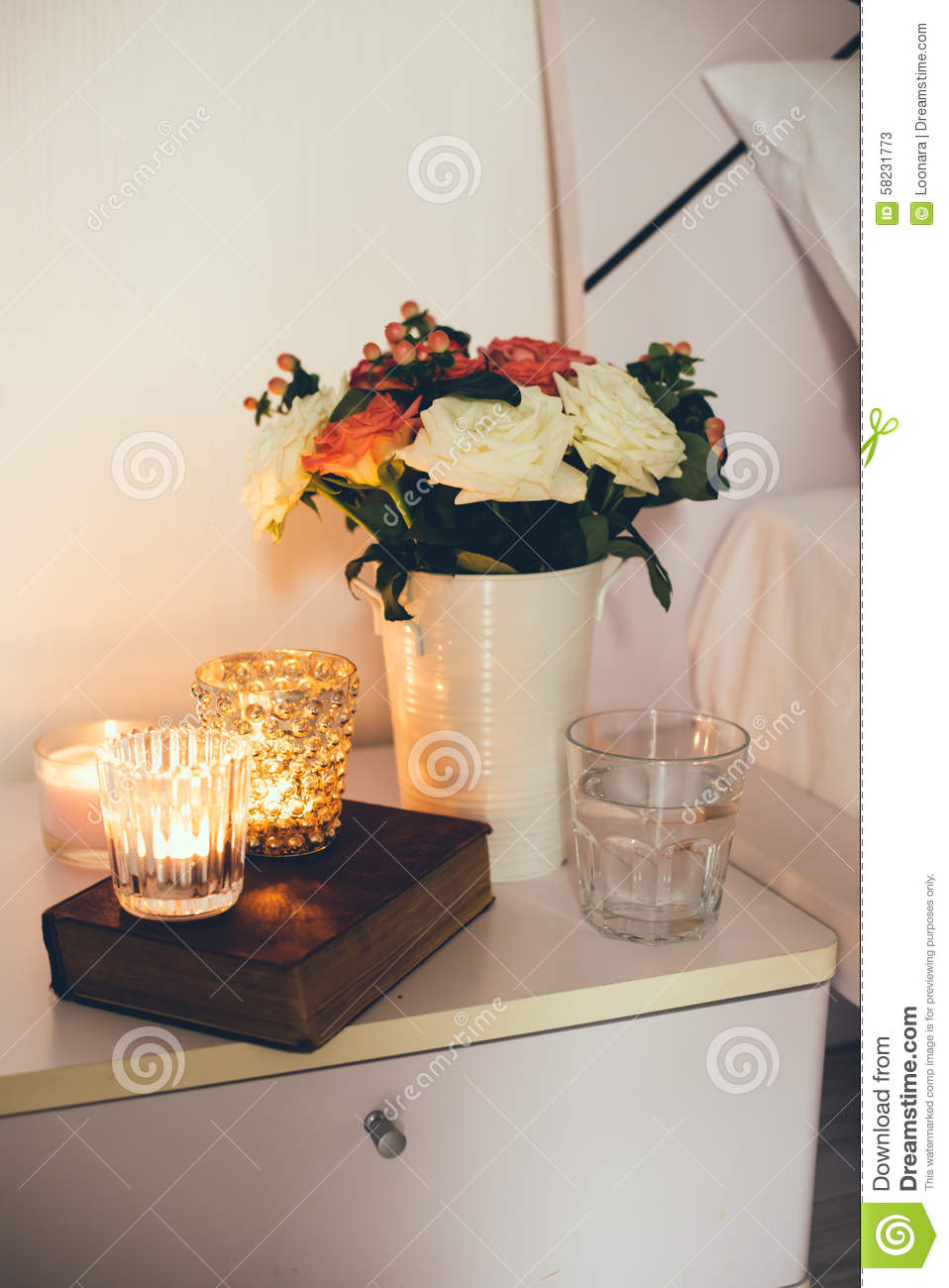 Bedside table decor with candles stock photo image 58231773 for Bed table decoration