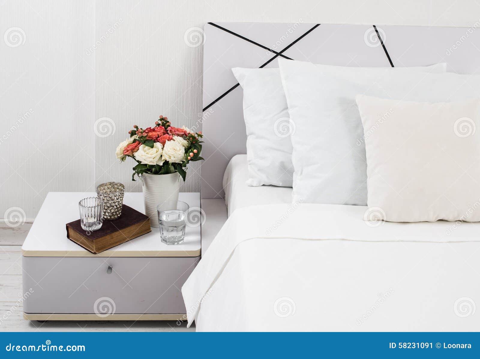 Bedside Table Decor Stock Image Image Of Furniture Hotel 58231091