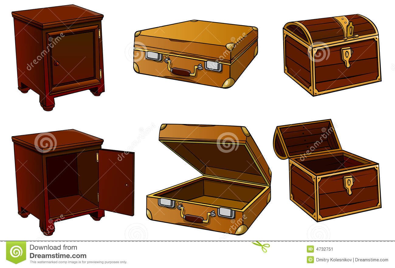 Cartoon Open Suitcase Bedside-table, suitcase, chest