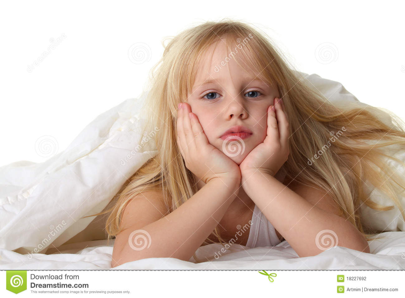 Bedtime - Child In Bed With Blanket Stock Photography - Image ...