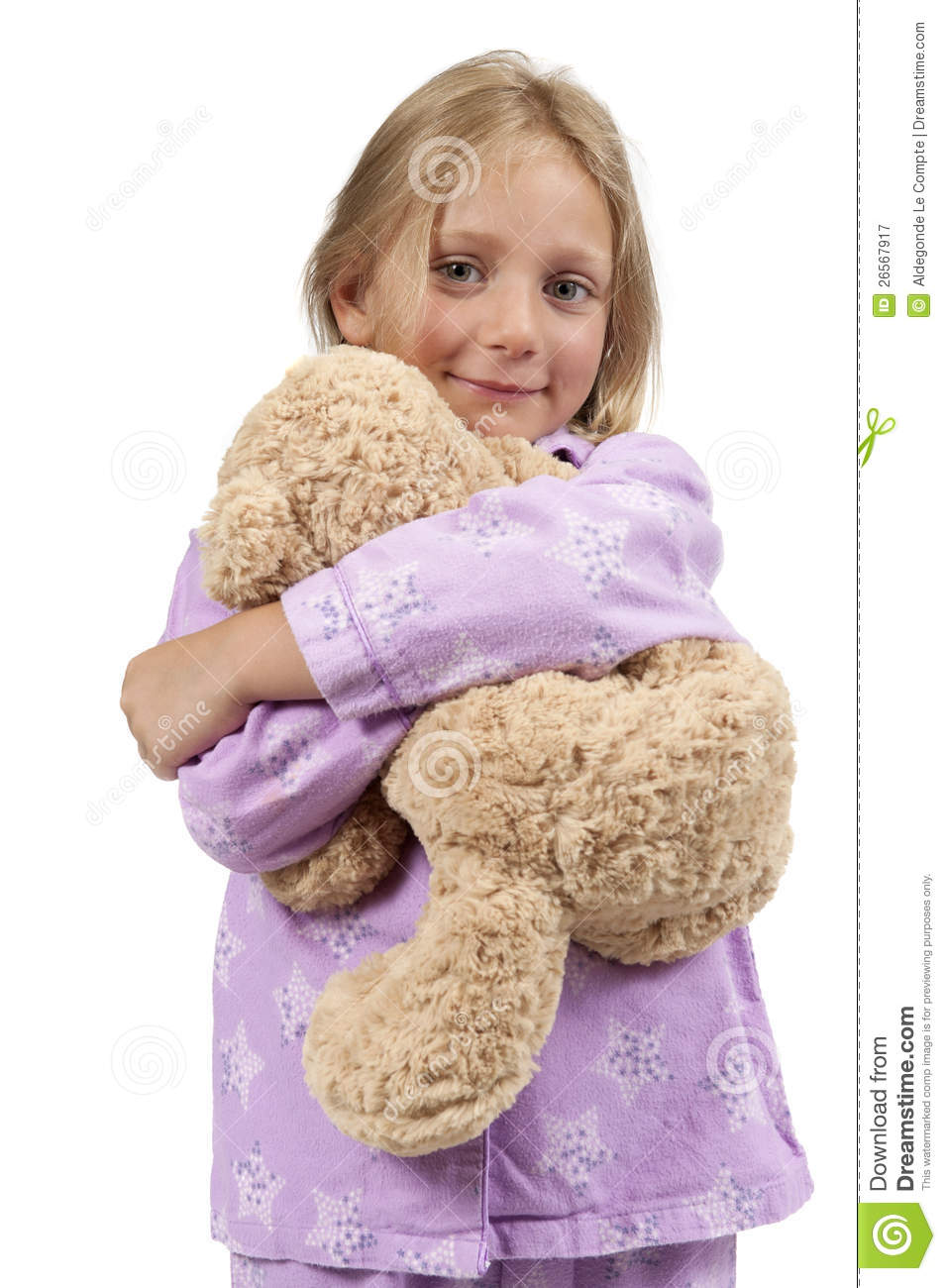 Royalty free stock photography bedtime child in pajamas with teddy