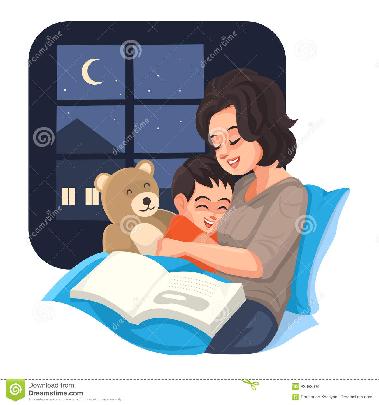 bedtime mother tell story with her son at night vector