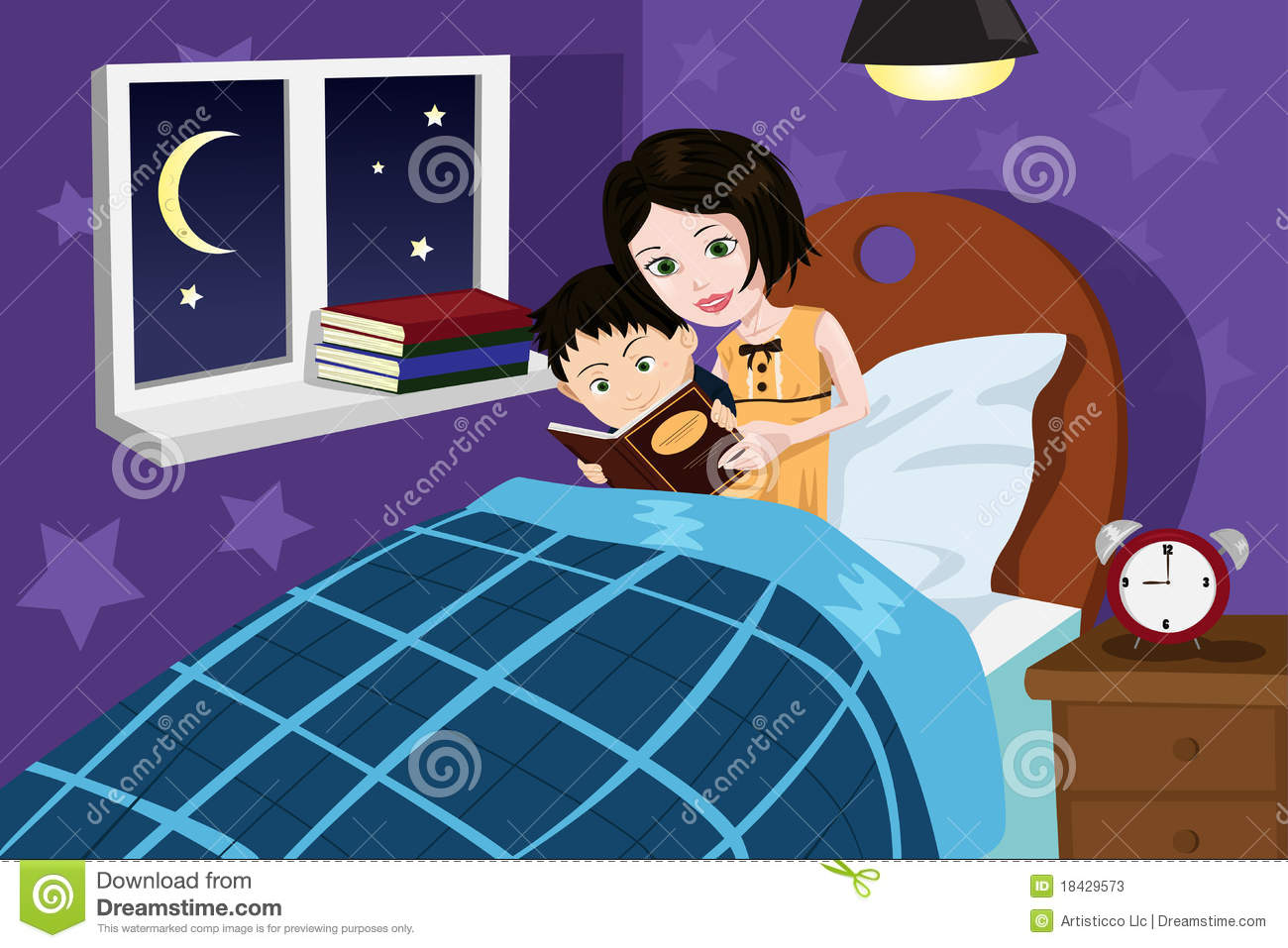 illustration of a mother reading bedtime story to her son.