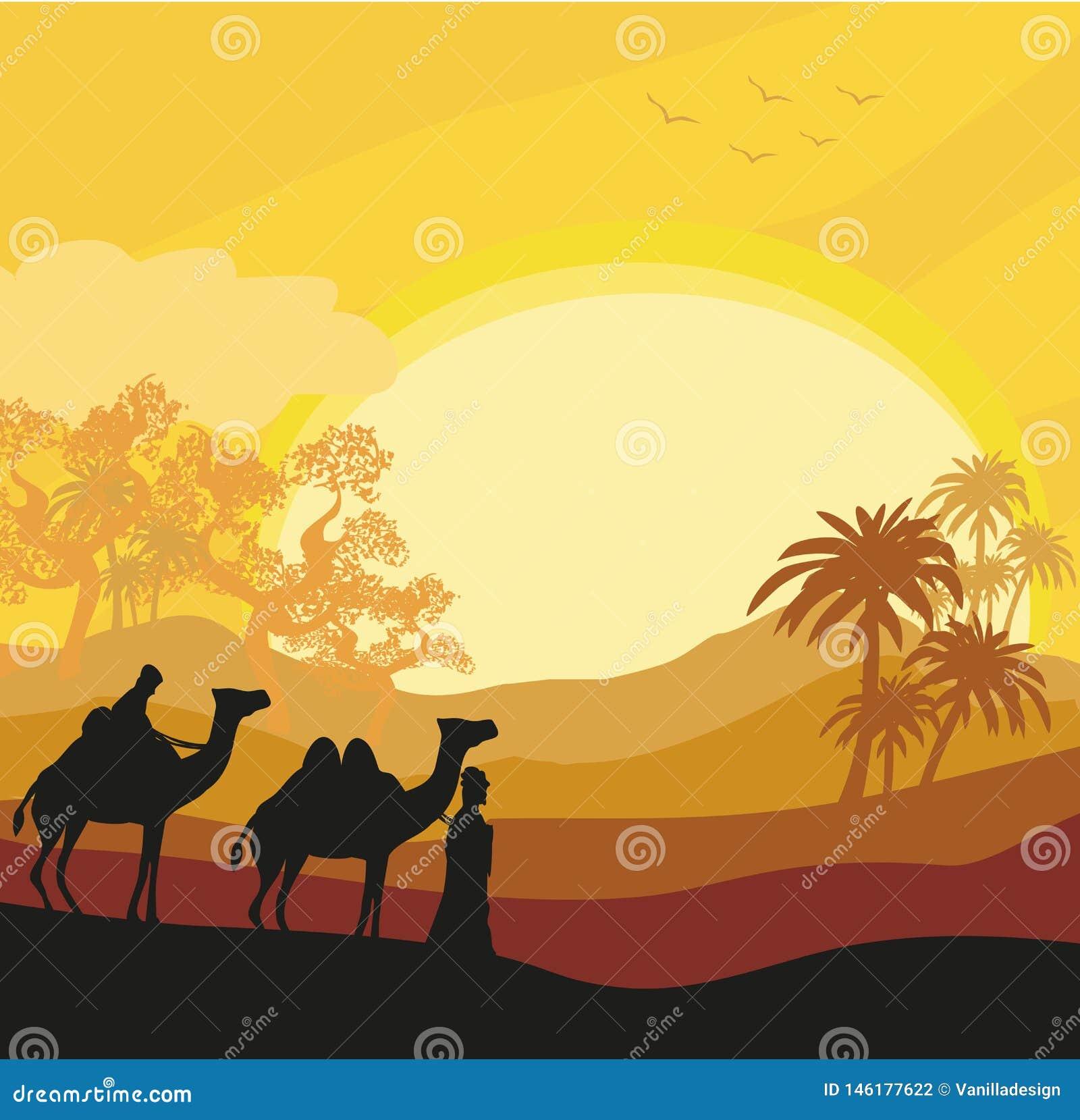 Beduinkamelhusvagnen i wild africa landskap