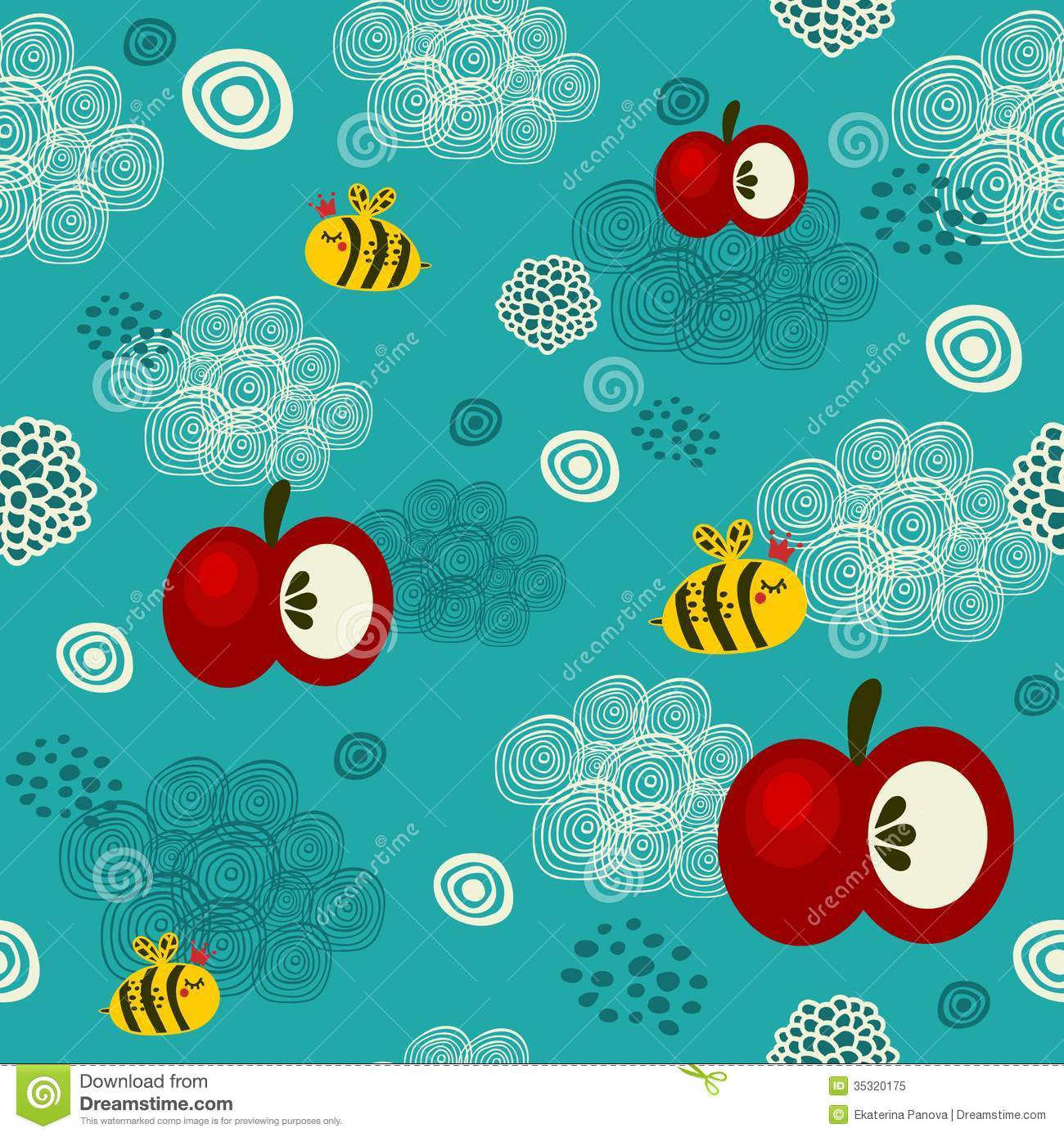 Bed sheet texture seamless - Bee And Apple Seamless Texture Royalty Free Stock Photo