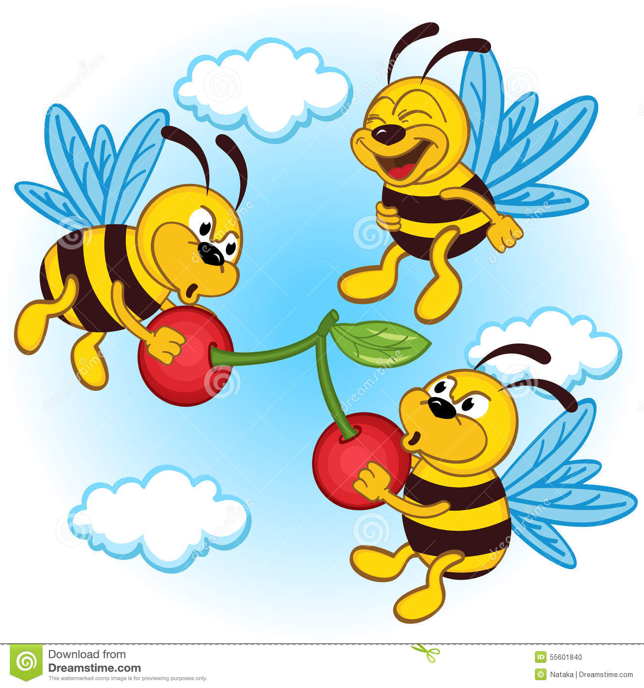 Bee and cherry