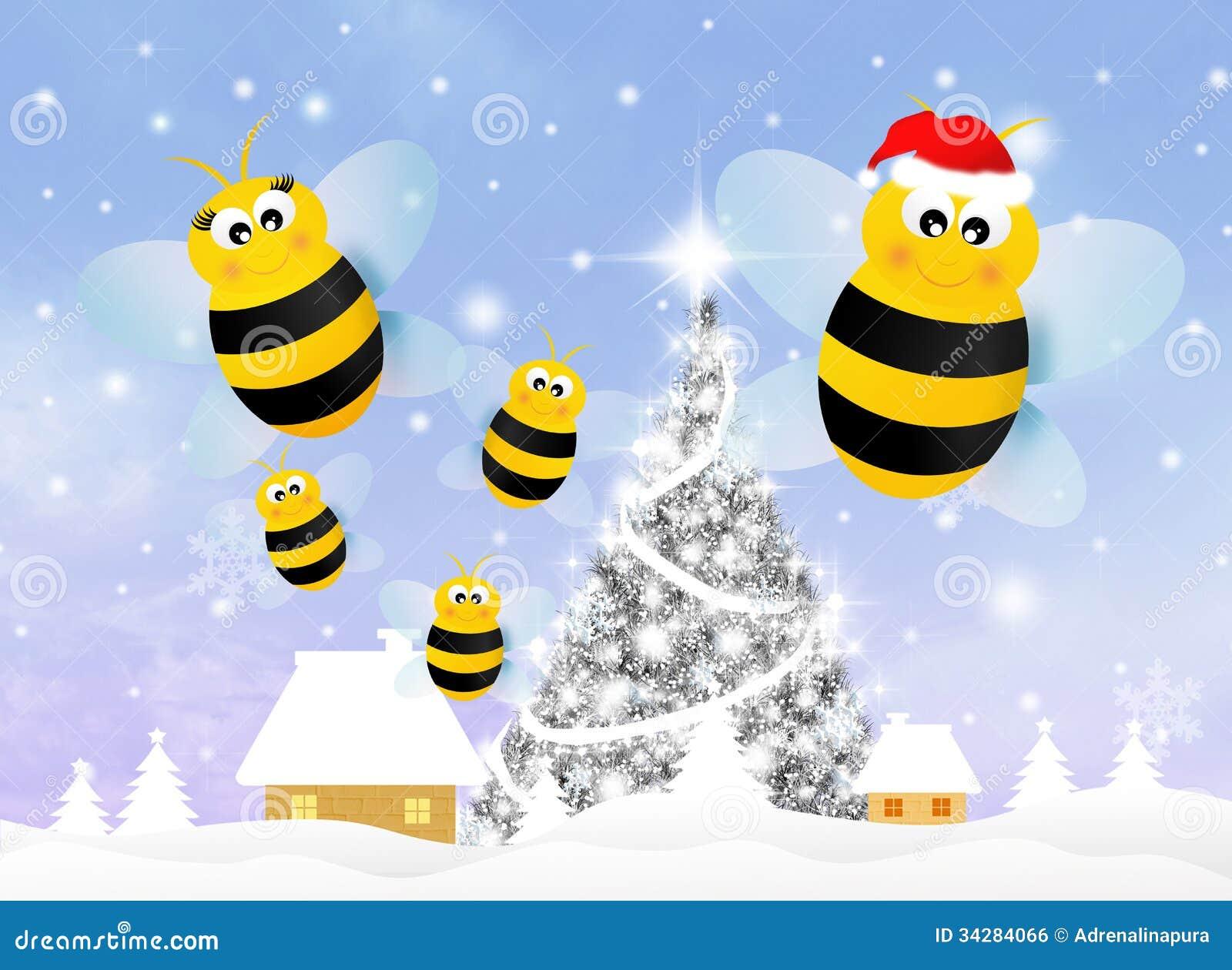 Bee At Christmas Royalty Free Stock Image Image 34284066