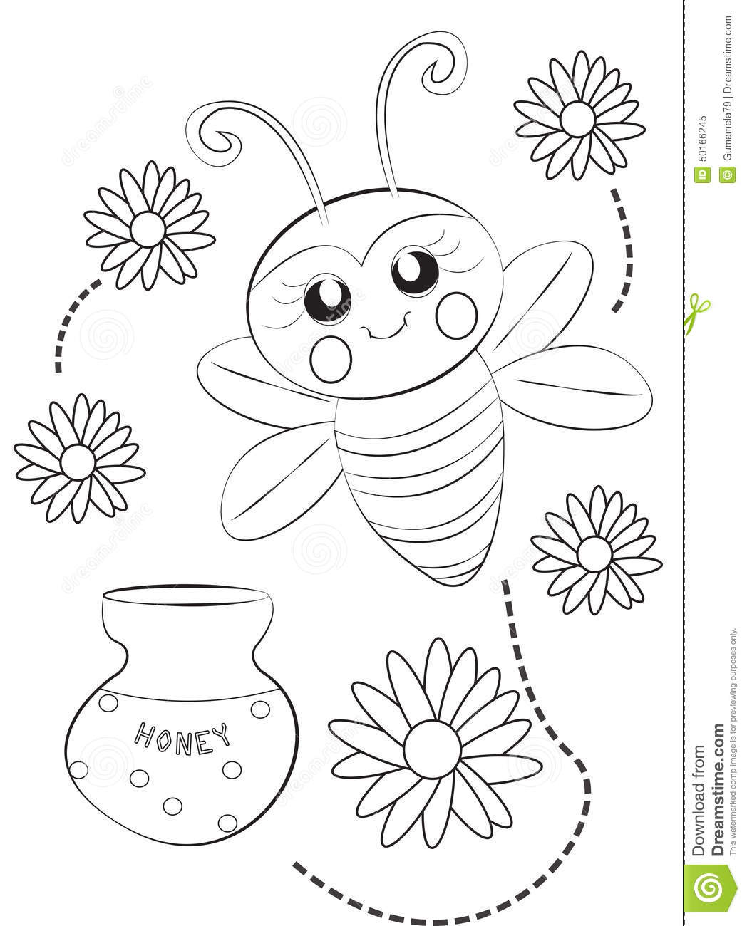 Bee Coloring Page Stock Illustration Image 50166245