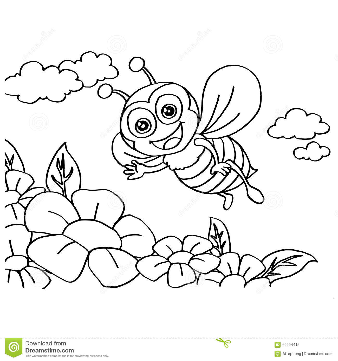 Bee Coloring Pages Vector Stock Vector Illustration Of