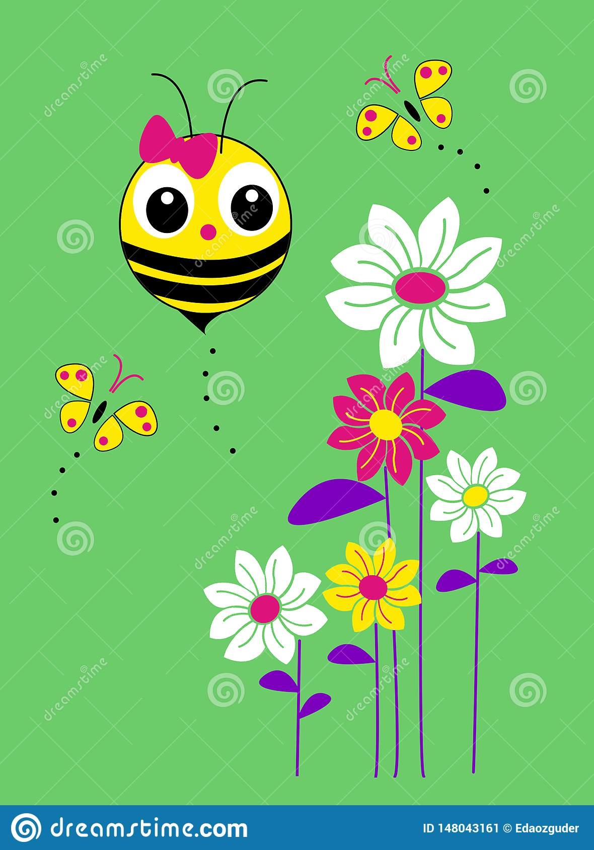 bee, flower, butterfly patterned graphic