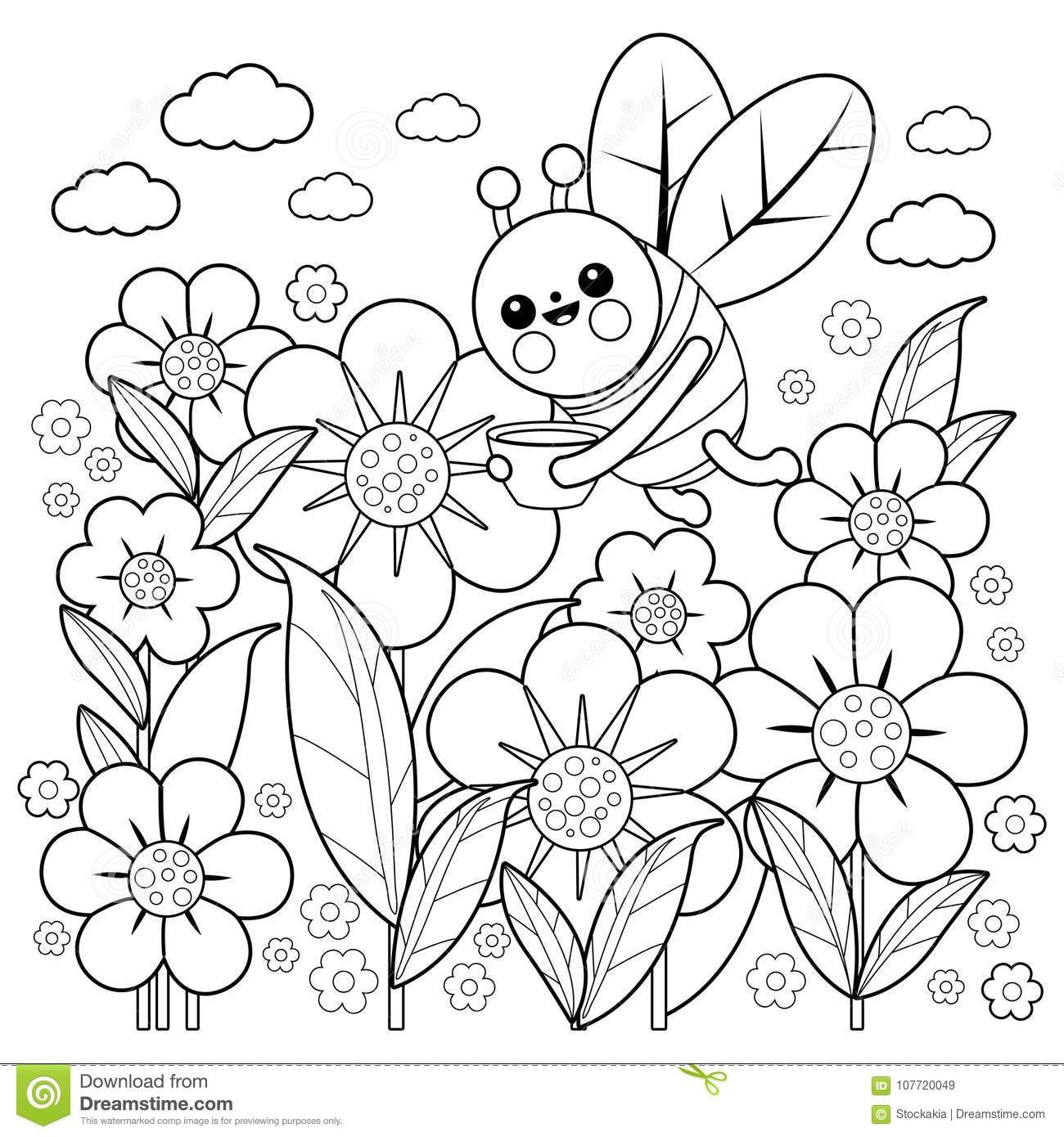 Download Bee And Flowers Coloring Book Page Stock Vector