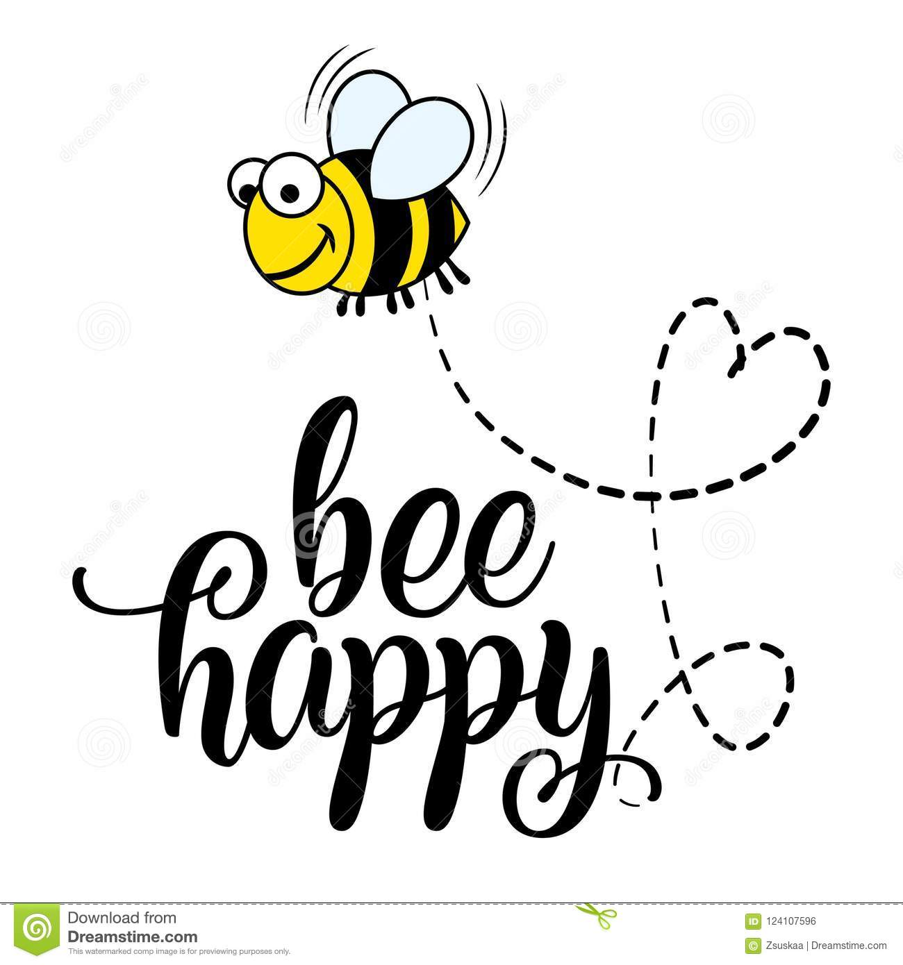 Bee Happy` Funny Vector Text Quotes And Bee Drawing. Stock ...