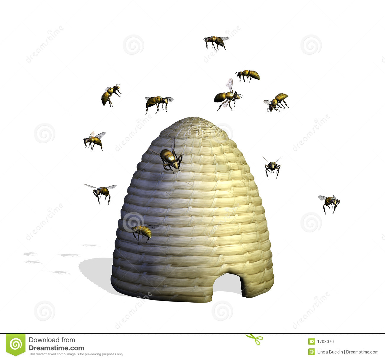 Download Bee Hive with Bees stock illustration. Illustration of bumblebees - 1703070