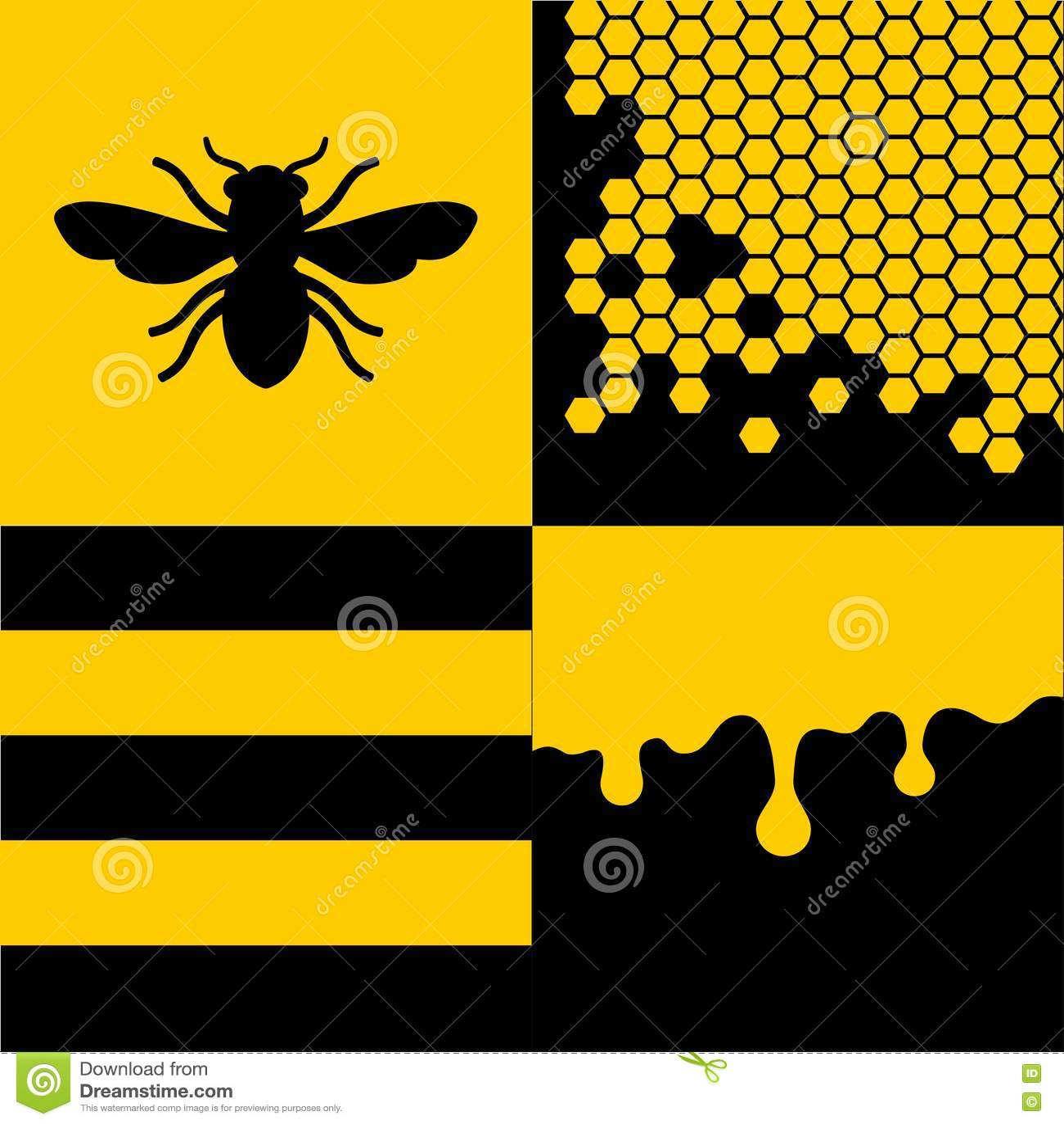 Bee Honeycells and Honey Patterns Set. Vector