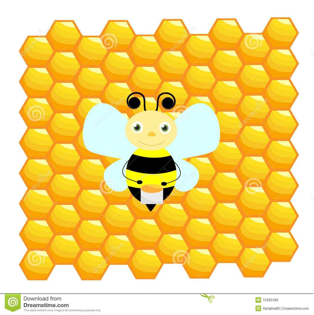 Bee With Honeycomb Background Stock Vector - Image: 15582495
