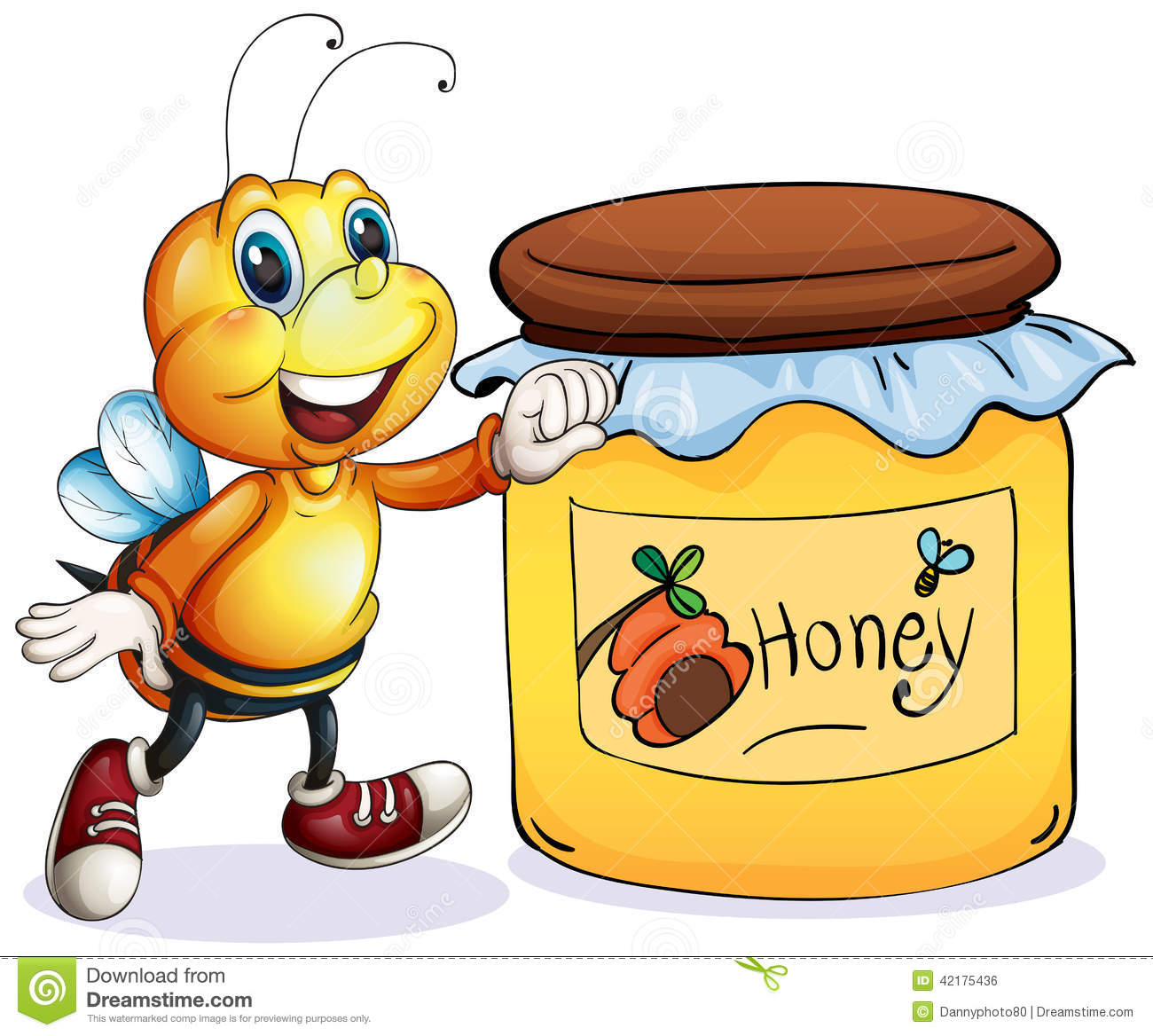 A Bee Beside The Jar Of Honey Stock Illustration Image