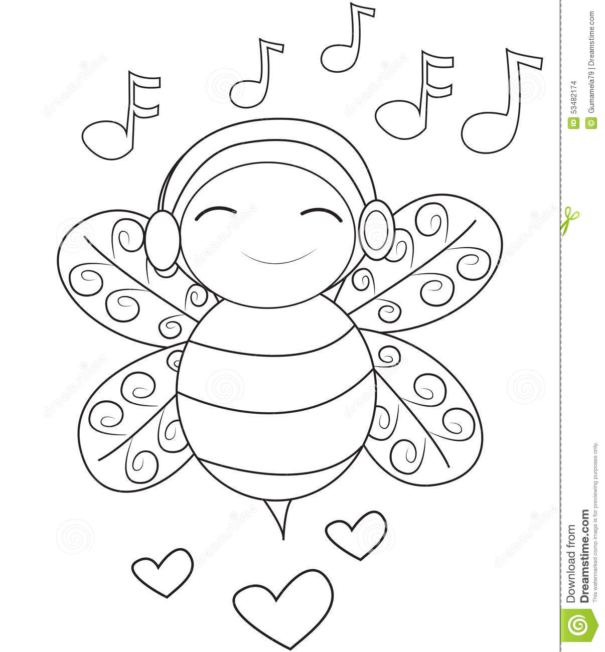 Bee Listening To Music Coloring Page Stock Illustration ...
