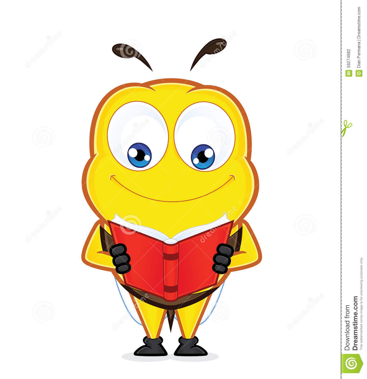 Cartoon Characters Reader : Bee reading a book stock vector image