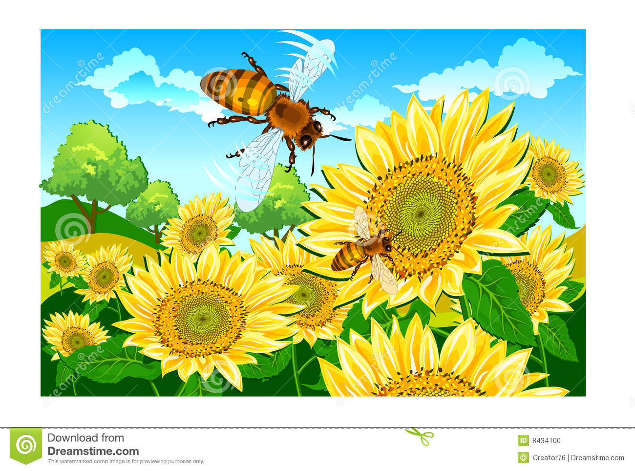 Bee and sunflower stock illustration. Illustration of ...