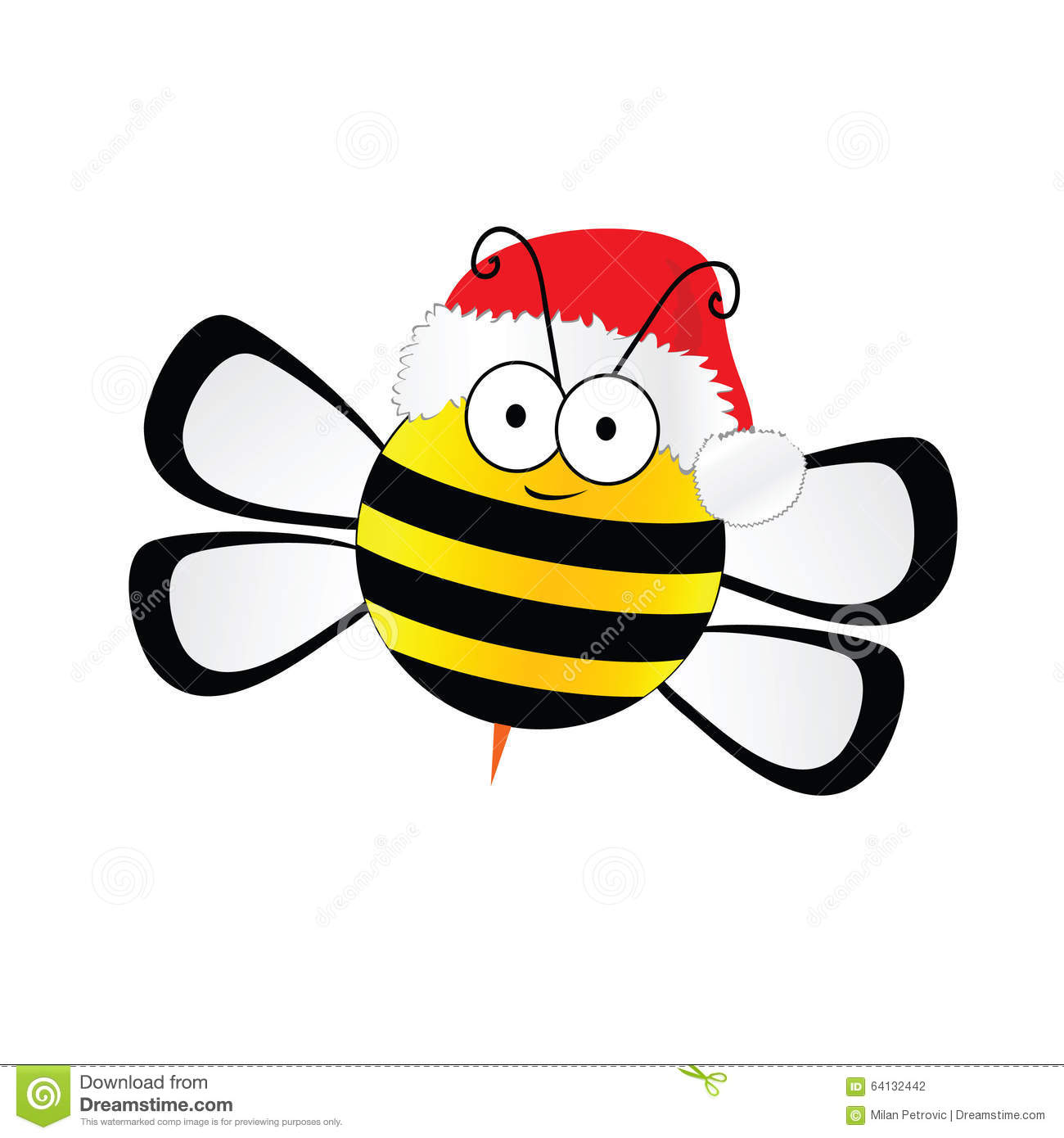 Bee Sweet With Christmas Hat Vector In Colorful Stock Vector ...