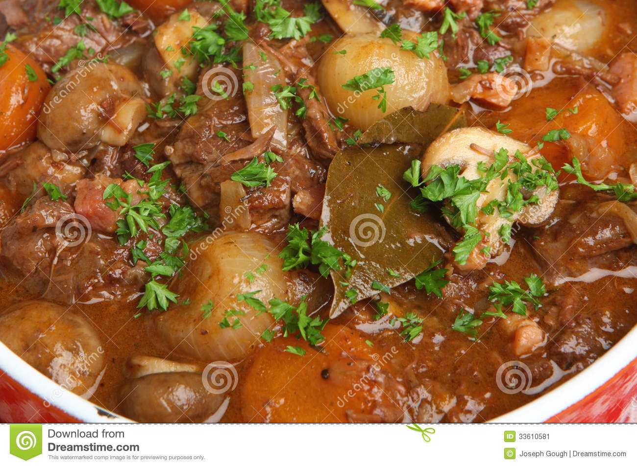 Beef bourguignon stew with carrots, shallots, bacon lardons and ...