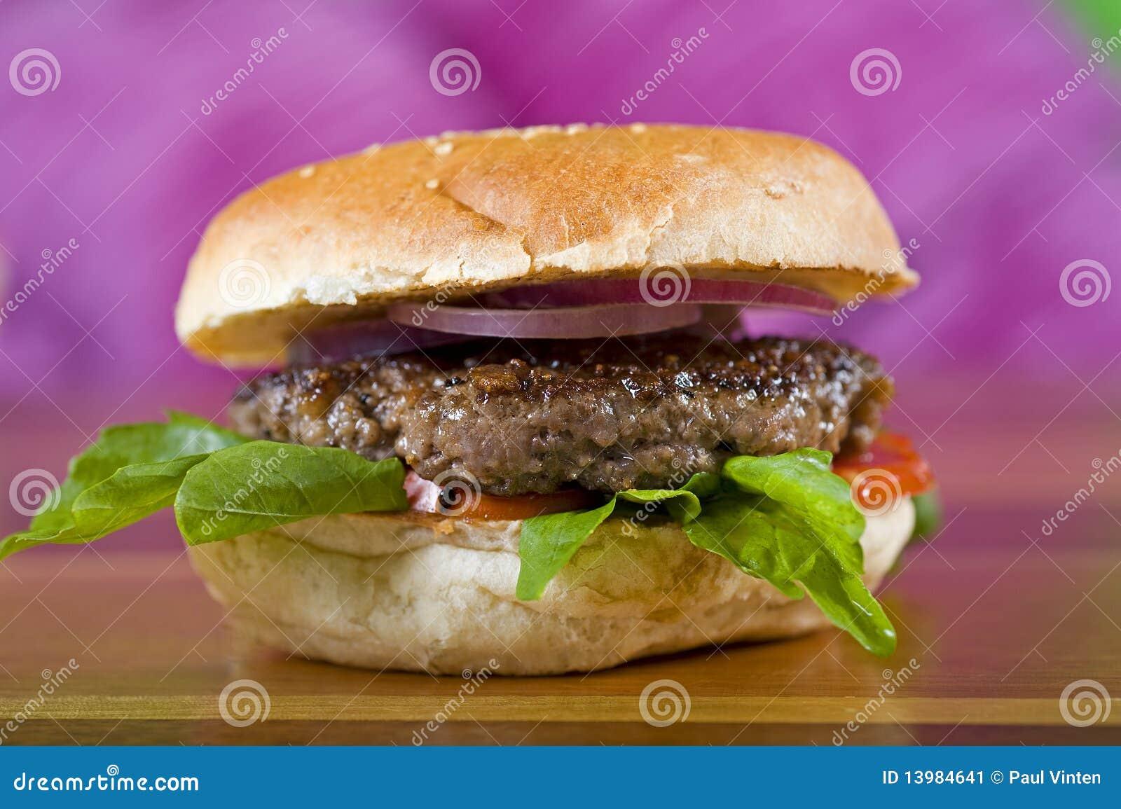 beef burger in a bread bun stock image image 13984641. Black Bedroom Furniture Sets. Home Design Ideas