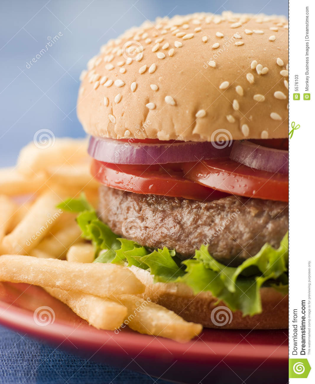 beef burger in a sesame seed bun with fries stock photos. Black Bedroom Furniture Sets. Home Design Ideas
