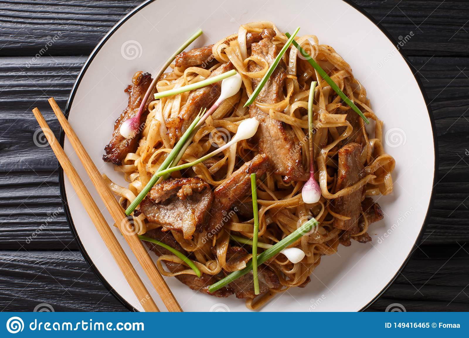 Beef Chow Fun Beef Stir Fried With Rice Noodle Bean Sprouts Spring Onions And Chinese Chives Is A Famous Cantonese Dish Stock Image Image Of Restaurant Fresh 149416465