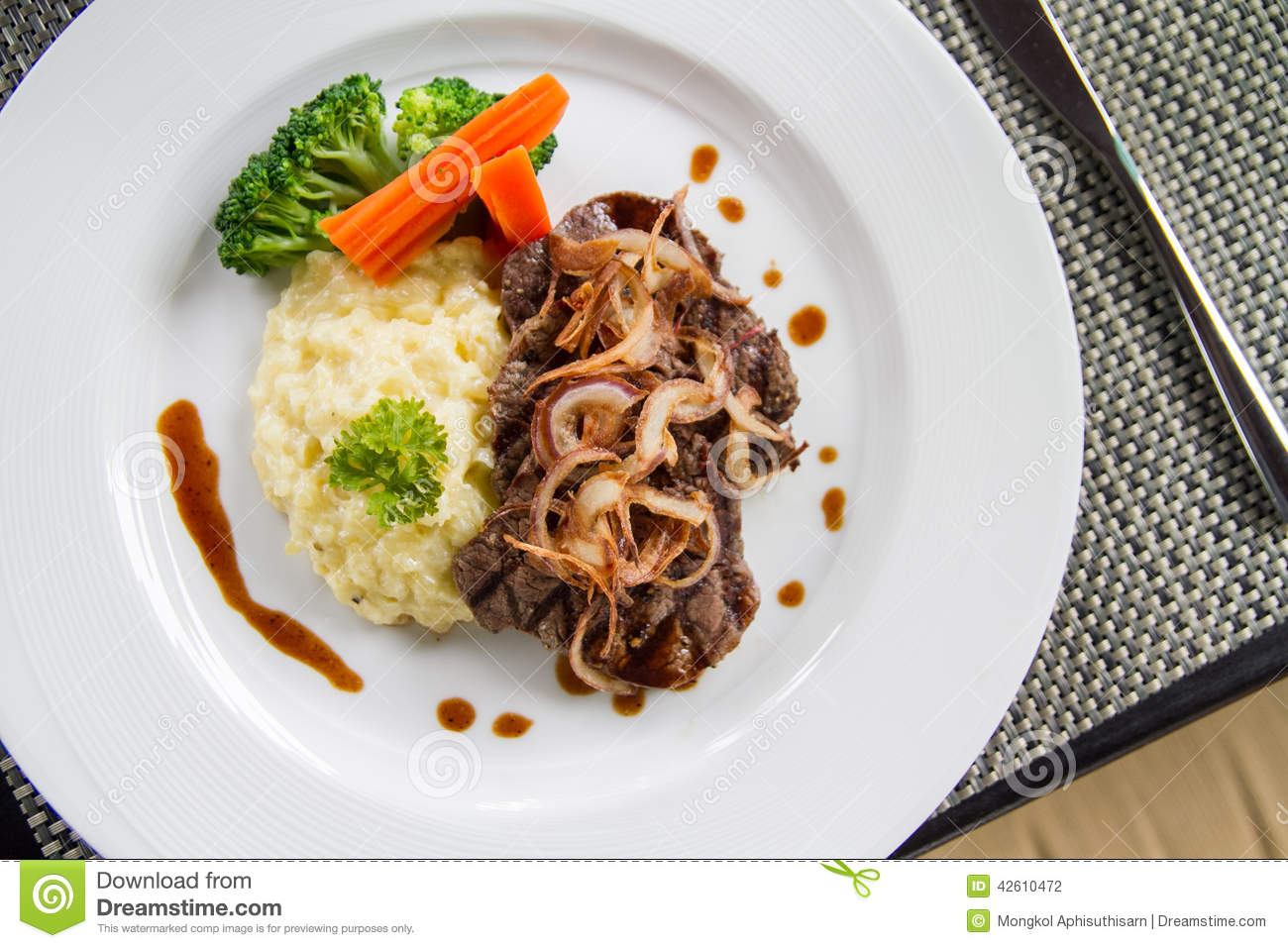 Beef Escalopes stock photo. Image of background, green ...
